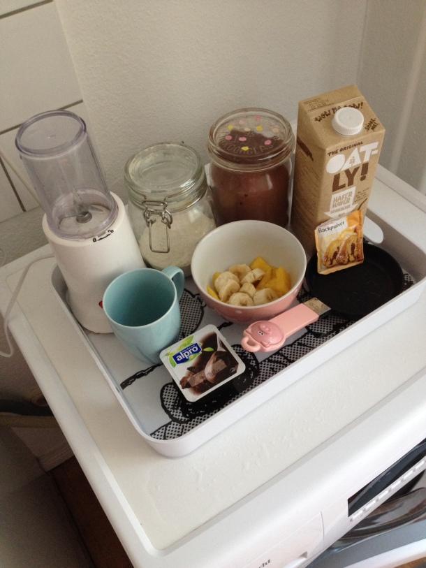 Überblick über Zutaten für Schoko Pancakes